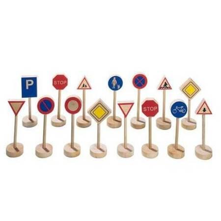 Drewniane znaki drogowe, zestaw do zabawy, Goki WM 397 - USZKODZONE OPAKOWANIE