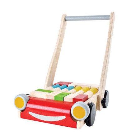 Drewniany wózek do pchania z klockami, Plan Toys  PLTO-5123