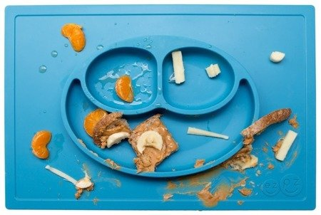 EZPZ Silikonowy talerzyk z podkładką 2w1 Happy Mat niebieski