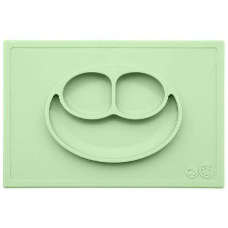 EZPZ Silikonowy talerzyk z podkładką 2w1 Happy Mat pastelowa zieleń