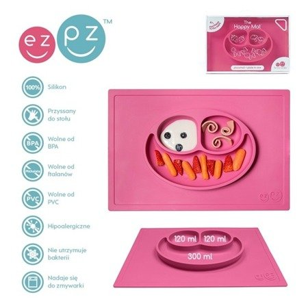 EZPZ Silikonowy talerzyk z podkładką 2w1 Happy Mat różowy