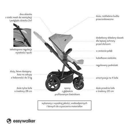 Easywalker Harvey2 All-Terrain Wózek głęboko-spacerowy Stone Gray (zawiera stelaż, siedzisko z budką i pałąkiem)