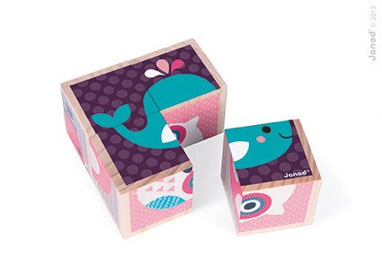 Klocki drewniane Puzzle 6w1 Zwierzątka, Janod