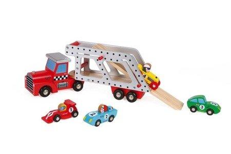 Laweta drewniana duża z 4 samochodzikami, Janod