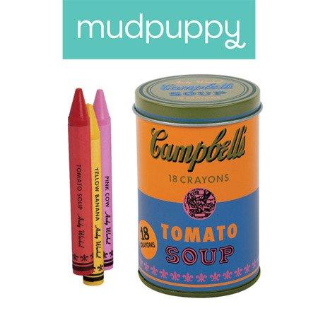 Mudpuppy Kredki świecowe Andy Warhol 18 sztuk w pomarańczowej puszce