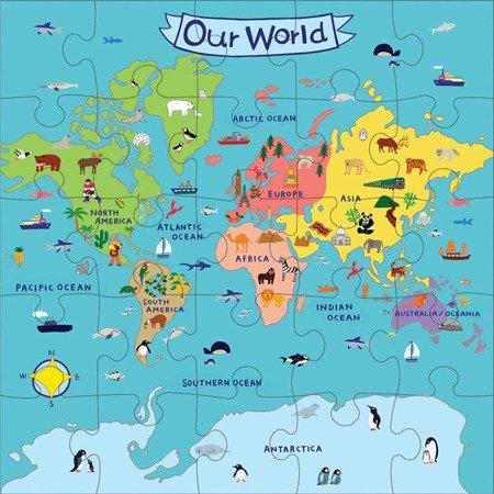 Mudpuppy Puzzle podłogowe Jumbo Nasz Świat 25 elementów 2+
