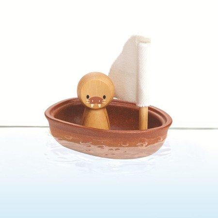Pastelowa żaglówka z lwem morskim | Plan Toys®