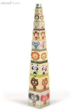Piramida wieża 10 kostek Zwierzęta, Janod