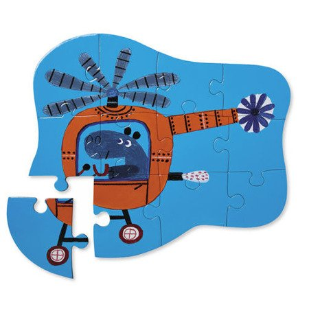 Puzzle 12 el.,Hippo w helikopterze Crocodile Creek