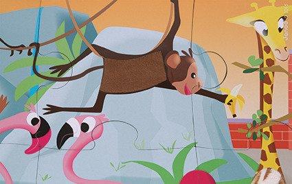 Puzzle sensoryczne 20 elementów Wycieczka do zoo, Janod