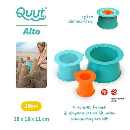 QUUT Zestaw 3 foremek do piasku Wieża Alto Lagoon Green + Vintage Blue + Mighty Orange