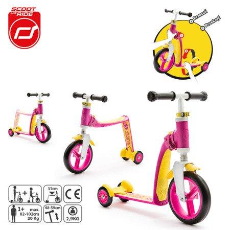 SCOOTANDRIDE Highwaybaby PLUS 2w1 hulajnoga i rowerek 1+ Pink