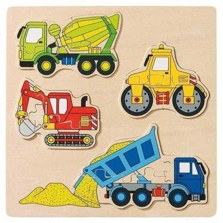 Układanka  puzzle, wzór maszyny budowlane, Goki 57901